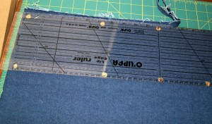 Line up center fold along straight ruler line for left side.
